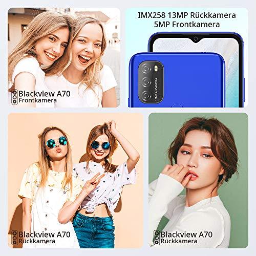 Blackview A70 (E) Smartphone ohne Vertrag Android 11, 6.517 Zoll HD mit 5.380mAh Batterie, 3GB RAM+32GB Speicher Octa-core, 13MP+5MP Kamera, Fingerabdruck Sensor, 4G Handy Dual SIM Mist Blau - 6