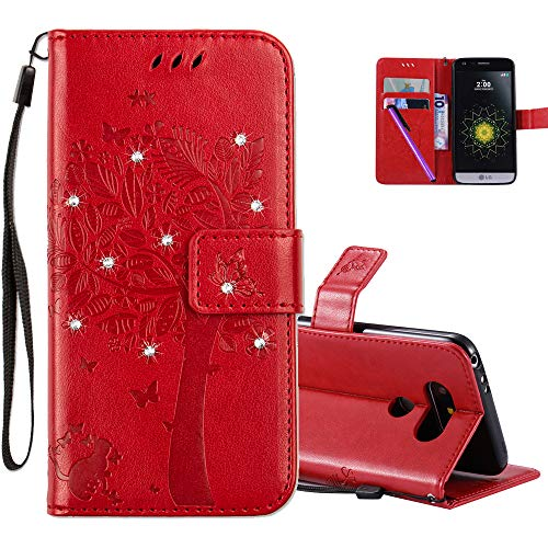 HMTECHUS LG G5 Case 3D Crystal Embossed Love Tree Cat Butterfly Handmade Diamonds Bling PU Flip Stand Card Holders Wallet Cover for LG G5 Wishing Tree Red KT