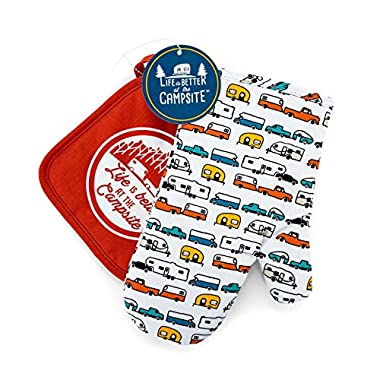 Camco Multicolor Oven Mitt - Red Pot Holder Life is Better at The Campsite Heat Resistant Set Pattern Design, Excellent for RV Kitchens, Camping and More (53259)