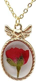 Rosso Rosa Vero Fiore Resina Amore Ali d'angelo Pendente Catena Placcato Oro 18k Collane
