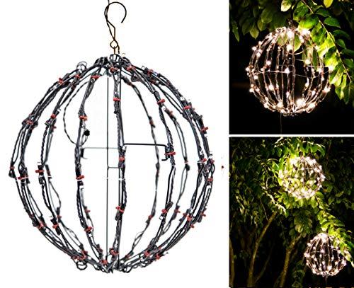 """Elf Logic - 12"""" Outdoor LED Light Ball - Hanging Tree Globe Light - Use as Outdoor Light Ball - Fold Flat Metal Ball Light Frame (Battery Timer, 12 Inch)"""