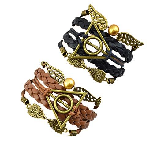 PPX 2 Stück Multi Strang Armband, Geflochtenes Lederarmband, Schwarz und Braun