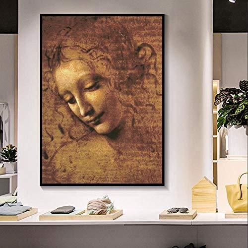 Unbekannt MFMing Leonardo Da Vinci Frau Kopf Giclée Leinwand Malerei Klassische Kunst Wandkunst Bilder Für Wohnzimmer Schlafzimmer Sthdy-40 cm X 60 cm Kein Rahmen