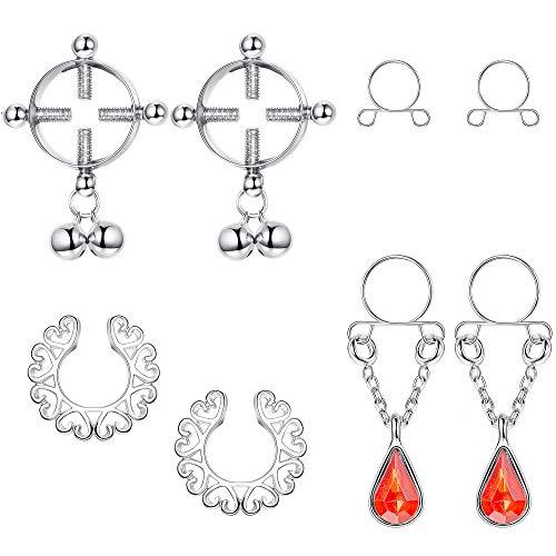 Thunaraz 4Pairs Stainless Steel Fake Nipple Rings for Women Non-Piercing Dangle Nipplerings Faux Body Piercing Jewelry