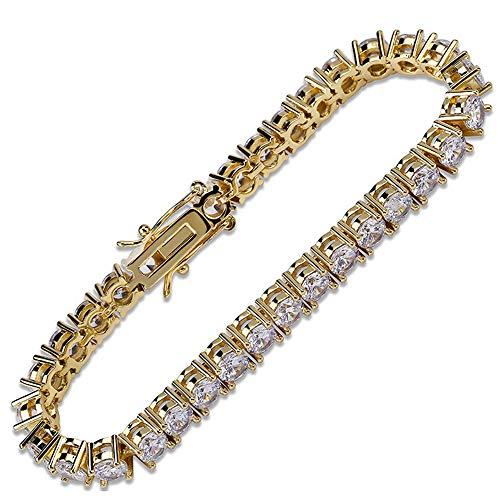 YLMyself Venta al por mayor Dropshipping latón 7 pulgadas tenis pulsera joyería 3mm 4mm 5mm CZ piedras oro color brazalete y pulsera