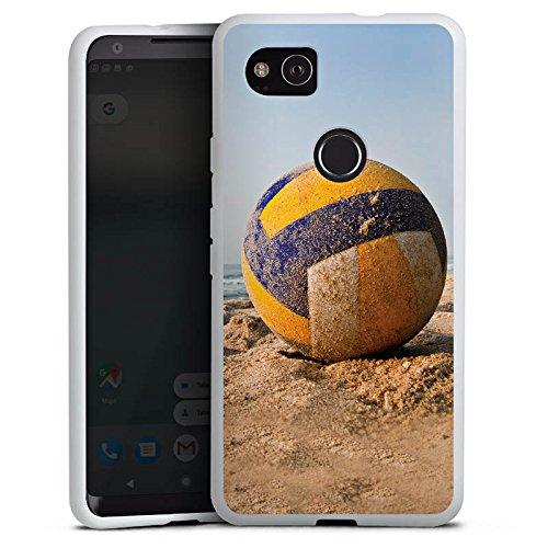DeinDesign Silikon Hülle kompatibel mit Google Pixel 2 XL Case weiß Handyhülle Volleyball Sand Hobby