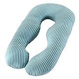 PREDUXYOW U Kissen Schwangerschaft, Schwangerschaftskissen U-förmiges Seitenschläferkissen weiches Lagerungskissen, Stillkissen mit Abnehmbarem und Waschbarem Bezug,Green,Stripes