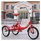 Tricycle for Adults Faltbare Erwachsene Dreirad Trike Cruise Bike Mini 16 Zoll Rad Single Speed 3 Radfahrrad Mit Großformatkorb Für Erholung Einkaufen Übung (Color : Red)