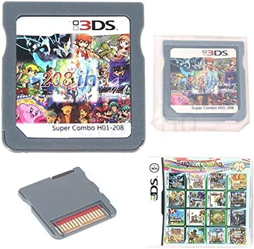 Cartucho de juego 208 en 1, compilaciones de tarjetas de juego de DS, Super Combo Multicart para Nintendo DS, NDSL, NDSi, NDSi LL/XL, 3DS, 3DSLL/XL, Nuevo 3DS, Nuevo 3DS LL/XL, 2DS, Nuevo 2DS LL/XL