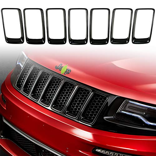 7PC Black Grill Ring Gloss Black Front Grille Inserts Cover Trim Kit for 2014-2016 Jeep Grand Cherokee