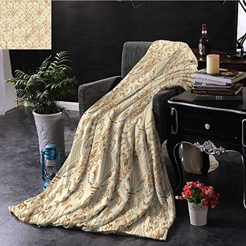 EDZEL - Manta Suave con Estampado Victoriano Floral Beige para Cama o sillón