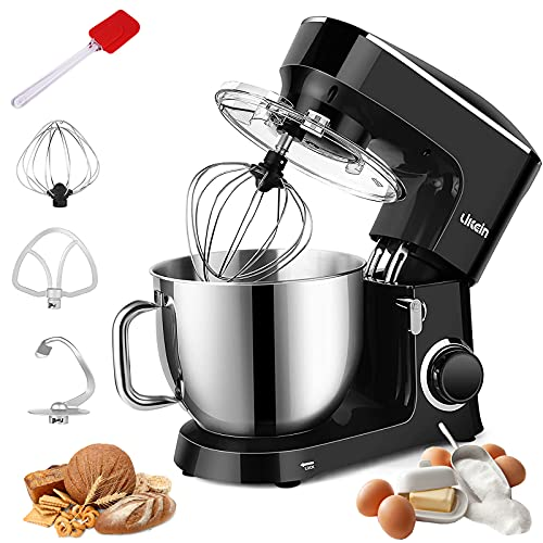 7.4 QT Stand Mixer, 660W Stainless Steel Mixer 6-Speed Tilt-Head Dough Mixers for Baking with Dough Hook, Wire Whisk, Beater, Splash Guard for Home Cooking(Black)