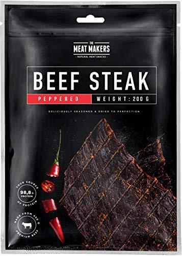 The Meat Makers | BIG PACK Original Dried Beef Jerky Steak (200g) – Trockenfleisch Rindfleisch Für Menschen (Peppered)