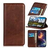 bagmaxx Wallet Case Echt Leder Handy Tasche Klapp Etui Schutz Hülle Magnetisch Innenfach Coffee für Samsung Galaxy A50