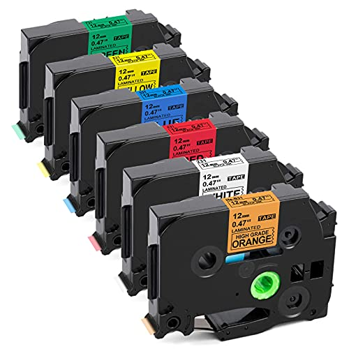 Label KINGDOM Compatible Label Tape Replacement for Brother P Touch TZe Label Tape 12mm 0.47 Inch for PTouch PT D210 H110 D400 Label Maker, Black on White/Orange/Red/Blue/Yellow/Green, 6Pack