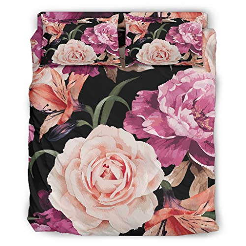 Flowers Bedding Duvet Cover Set Funny 4 Piece Coverlet Set Duvet Cover Set with Pillow Shams and Bed Sheet White King