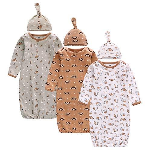 Pack de 3 sacos de dormir para bebé con gorros para verano/primavera, 78 x 22 cm, 100% algodón, para niños de 0 a 3 meses