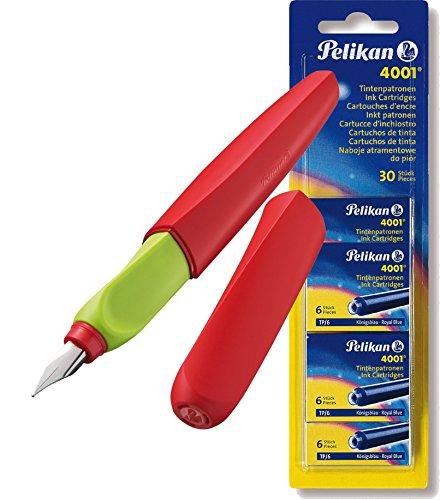 Pelikan – Penna stilografica Twist (universale per destra e sinistra mani), Rot, 1