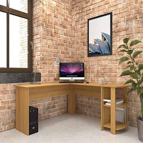 Escritorio de Esquina Grande en Efecto Roble con estantes para Oficina en casa - Piranha Furniture Pacu