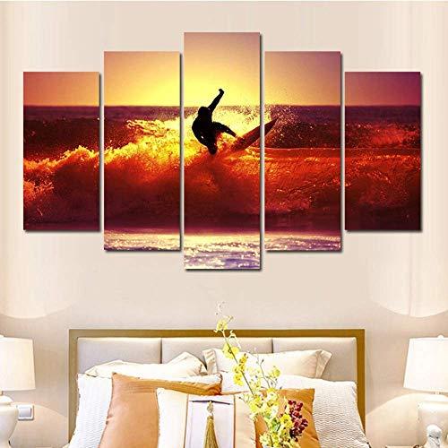 SLSMD-ART fotobehang 5 stuks canvas gedrukt strand surf muurkunst woonkamer slaapkamer decoratie, 100x55cm Eén maat 20 x 35 cm x 2 20 x 45 cm x 2 20 x 55 cm x 1