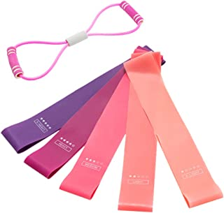 LGCBO 5 PCS Resistance Loop Exercise Bands for Legs and Butt, Fabric Soft Non Slip Workout Hip Bands, Pilates Flexbands,Re...