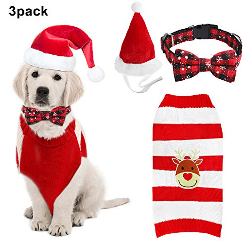 3 Piezas Kit de Disfraz de Mascota Navideña, Incluye Suéter Tejido de Navidad Reno Mascota Gato Perro, Gorro de...