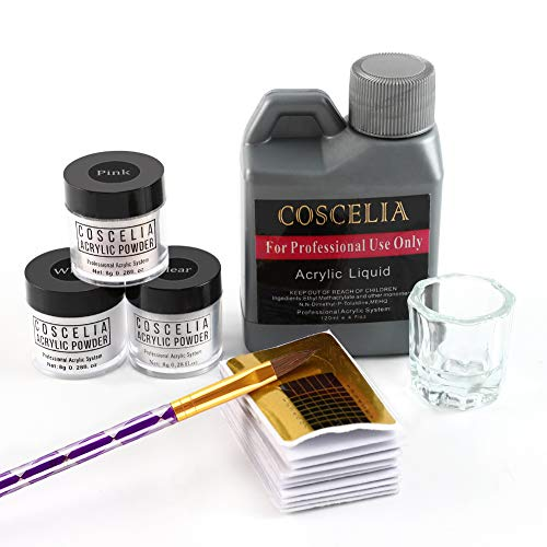 Coscelia Acrylpulver Set Acryl Nagel Starterset PLUS Liquid 120ml Acrylpuder weiß klar pink Acryl flüssiges Pulver Pen Glas Tools Set Nail Art Kits