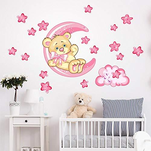 R00317 Adesivi Murali Soffice Effetto Tessuto Orsetto sulla Luna Decorazione Muro Bambino Neonato Nursery Cameretta Asilo Nido Carta da Parati Adesiva