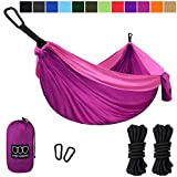 Gold Armour Camping Hammock, Double & Single Parachute Hammock with Ropes, USA Brand Lightweight Portable Mens Womens Kids, Camping Accessories Gear (Fuchsia and Pink, 1 Person)