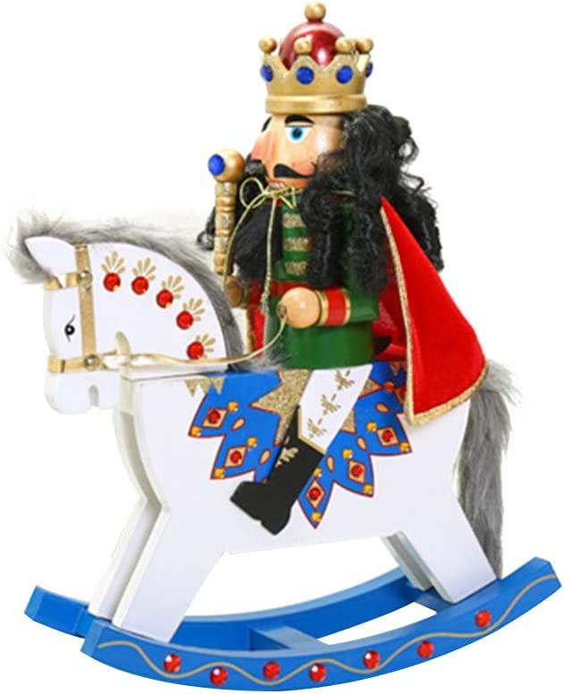 Vosarea Wooden Nippon regular agency Soldier Nutcracker Collectible Horse sold out Rocking Figu