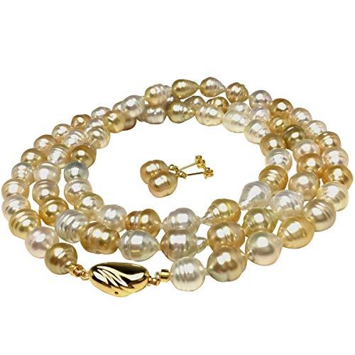 イソワパール ナチュラルカラー 白蝶真珠 セミロング ネックレス・ピアス セット ネックレス:8.0-8.9mm ピアス:8.0×8.1mm マルチカラー シルバー クラスップ 65662
