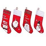 Calcetines Navidad Bordado Pack de 4- Aproximadamente 45cm Calcetin Navidad Rojo Colgante...