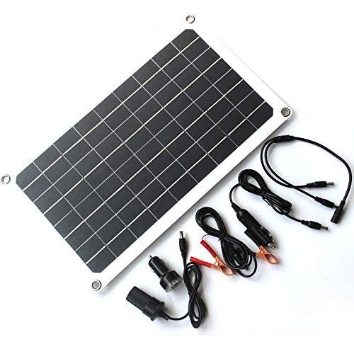 NUZAMAS 20W 18v semi flexible panel solar celda monocristalina, doble USB, pinzas de cocodrilo, DC para coche yate llevó la luz RV 12v batería barco cargador al aire libre