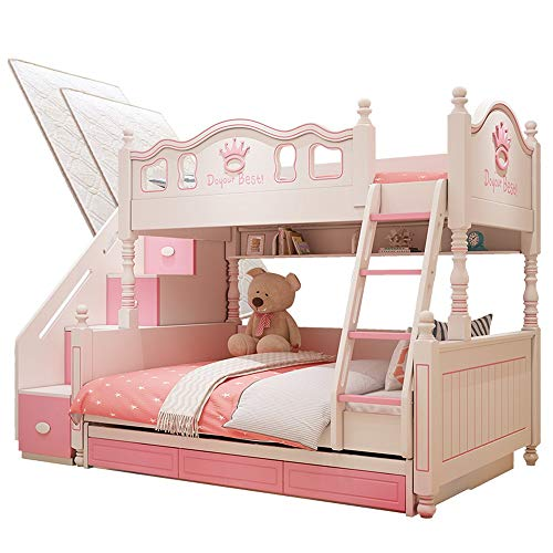 New Children's Double Bed,Second Child Room,Bottom bunk, Two-Story Princess Bed, Solid Wood Combinat...