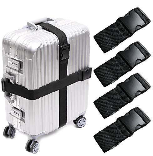KABB HS-0083 4 PCS Suitcase Belts Travel Accessories Bag Luggage Straps, Multicolored, One Size, Black, M