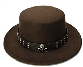 2019 Women Kid Children Vintage Wool Wide Brim Top Cap Pork Pie Pork-Pie Bowler Hat Skull Bead Leather Band (54cm/Adjust) (Color : Coffee, Size : 54cm)