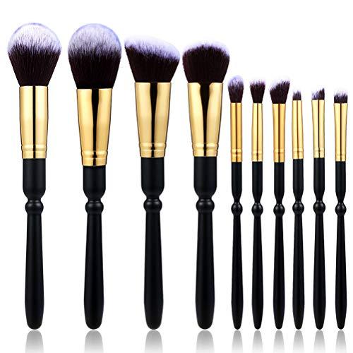 CH-YS Pinceau De Maquillage, 10 Manche en Bois Tube d'or Fond Brun Fond Blanc Pic Fibre Fibre Cheveux Beauté Kit De Maquillage Fondation Blush Brush