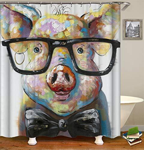 Fansu Duschvorhang Wasserdicht Anti-Schimmel Anti-Bakteriell, 3D Drucken 100prozent Polyester Bad Vorhang für Badzimmer mit C-Form Kunststoff Haken (Schwein,120x180cm)