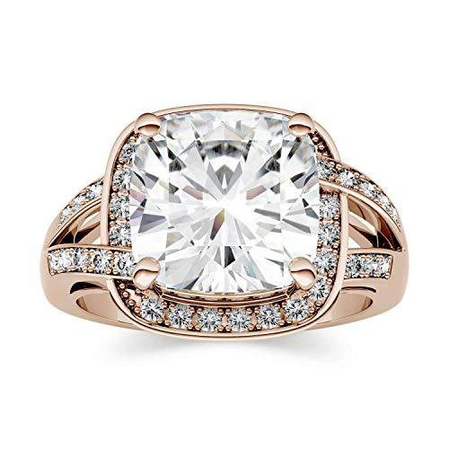 Charles & Colvard Forever One anillo de compromiso - Oro rosa 14K - Moissanita de 10.0 mm de talla cojín, 5.2 ct. DEW, talla 14,5