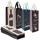 12 Pack Wine Bottle Gift Bags with Handles Bulk Set for Birthdays, Holidays (4 Designs)