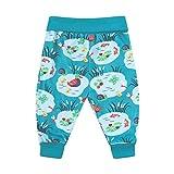 Aqua Blue - Pantalones de bebé, suave y cómodo, algodón orgánico libre de químicos, unisex para niñas y niños Azul azul 6-12 Meses