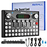 Upgraded V8 Sound Card, REMALL Voice Changer for Sound Effects Board, V9 Sound Card for Audio Mixer Streaming, Bluetooth Sound Board Mixer With Podcast YouTube for PC iPhone Type C Cell Phone