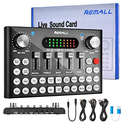 REMALL Live Sound Card Voice Changer for Podcasting, Bluetooth Audio DJ Mixer with Sound Effects for iPhone Mobile Phone Type C Computer, Upgraded Sound Card for Live Streaming Broadcast Gaming (V10)