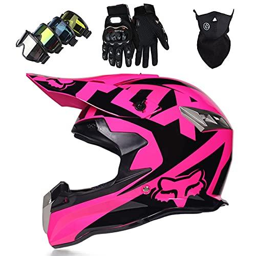Casco Moto para Niños con Gafas Guantes Máscara, Conjunto Casco MTB Integral para Adulto con FOX Design para Downhill Quad Bike Enduro Racing Dirt Bike, Aprobado por DOT - Negro Rosa