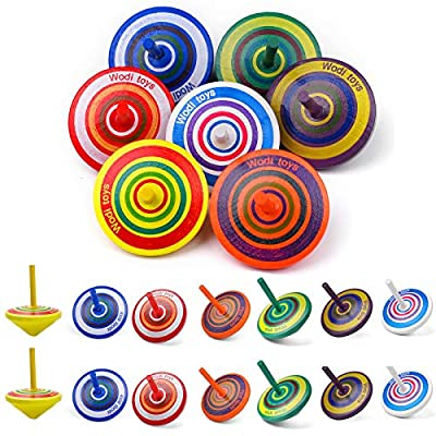 Wooden Spinning Tops for Toddlers - Colorful Wooden Educational Toy, Novelty Wooden Gyroscopes Multicolored Painted for Kids, Educational Toys Suitable for Family Games. (14 pcs wooden spinning tops) by ubrand