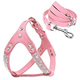 Beirui Soft Suede Rhinestone Leather Dog Harness Leash Set Cat Puppy Sparkly Crystal Vest & 4 ft Leash for Small Medium Cats Pets Chihuahua Poodle Shih Tzu, Pink,Small Chest for 14-15.5'