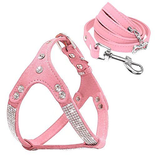 Beirui Soft Suede Rhinestone Leather Dog Harness Leash Set Cat Puppy Sparkly Crystal Vest & 4 ft Lead for Small Medium Cats Pets Chihuahua Poodle Shih Tzu,Pink,Small Chest for 14-15.5""