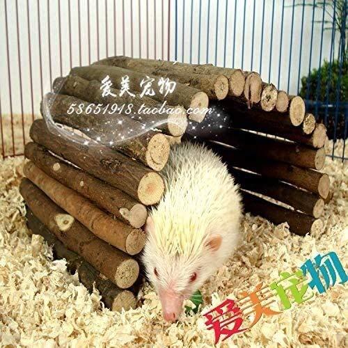 Hedgehog House, Hérisson Maison bois avec écorce Toit Rat Simple Estilo Flap Winterfest avec plancher Hedgehog Hut Totoro quartiers d'hiver Hedgehog House Station d'alimentation extérieure (Couleur: M