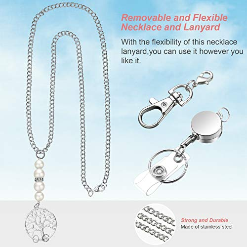 3 Pieces Retractable Badge Reel Lanyard Necklaces with 3 Pieces ID Holder Clips, Beaded Lanyards, Stainless Steel Leaf Chain, with 6 Pieces Waterproof Clear Badge Holder for Women Office Staff Student Photo #6