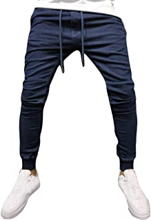 YYG Men Casual Active Drawstring Drawstring Slim Fit Jeans Jogger Jeans Pants
